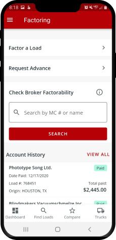 iPhone showing Truckstop.com Factoring.