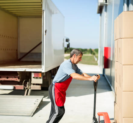 A box truck is loaded with cargo.
