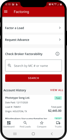 A screenshot of Truckstop.com Factoring app